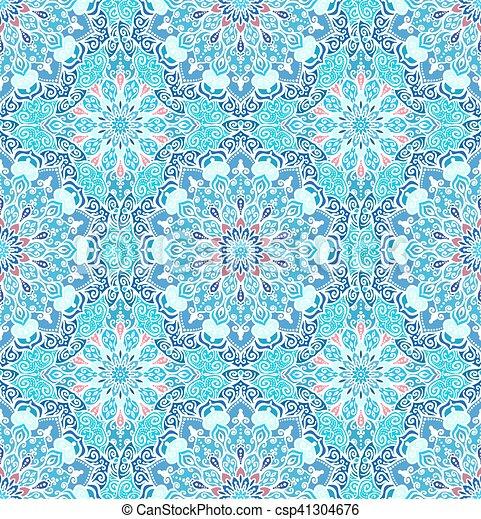 luxury blue pattern boho flower csp41304676 - Boho Muster