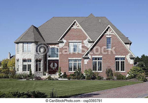 Luxury brick home - csp3393791