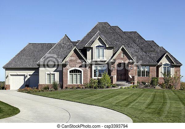 Luxury brick home - csp3393794