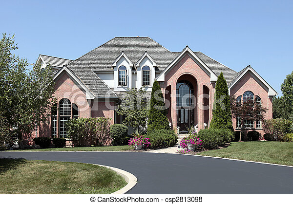 Luxury brick home with cedar roof - csp2813098
