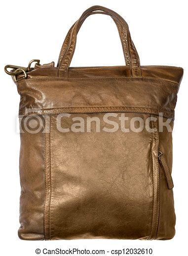 Luxury brown female leather bag isolated on white - csp12032610