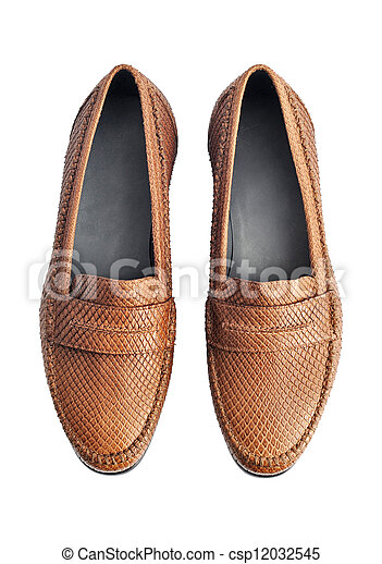 Luxury brown leather loafers isolated om white background - csp12032545