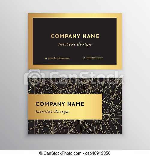 Luxury business card gold and black horizontal business card luxury business card gold and black horizontal business card template design for personal or business use with front and back side vector illustration wajeb Gallery