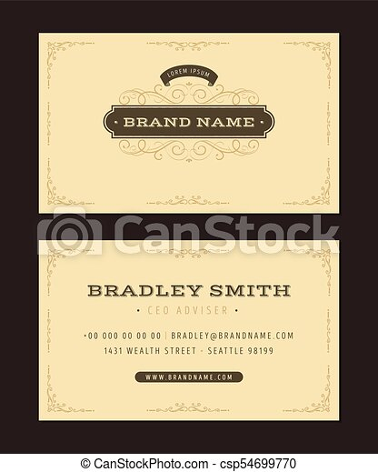 Luxury business card illustration of a set of luxury vintage luxury business card csp54699770 friedricerecipe Images