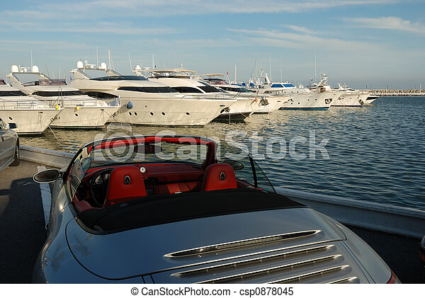 Luxury car and yacht - csp0878045