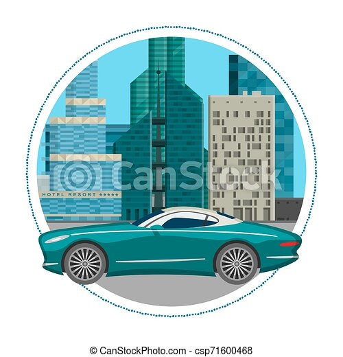 Luxury car for people who love high speed. Newly-formulated vehicles in the concept of agility. Vector illustration design of luxury car on cityscape background with skyscrapers. - csp71600468