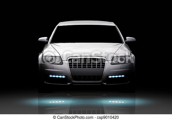 Luxury Car Isolated Front View Of A Luxury Sport Sedan Isolated On