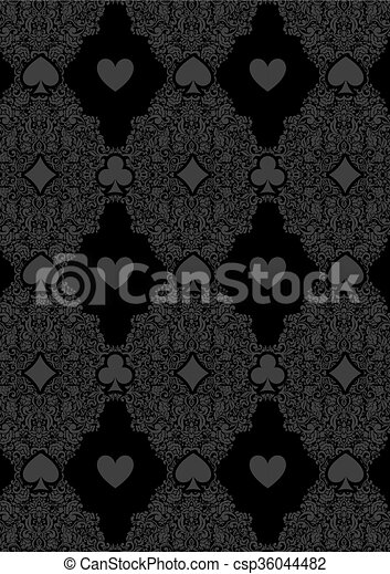Luxury Casino Gambling Poker Background With Card Symbols Black Seamless Casino Gambling Poker Background With Dark Damask
