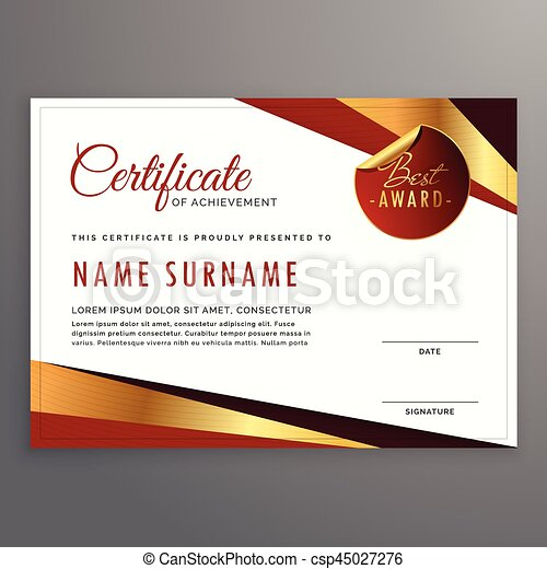 Luxury Certificate Template Design With Elegant Golden And Red Shapes