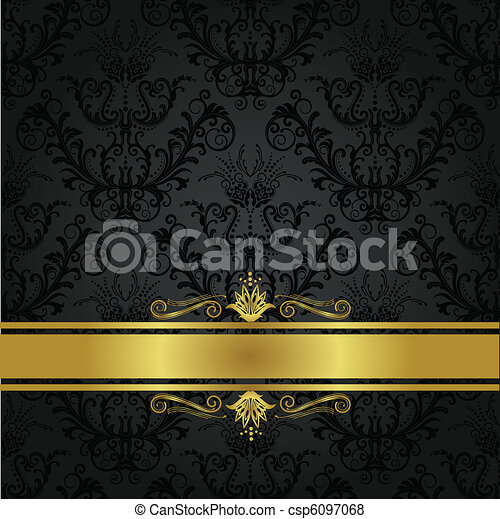Luxury charcoal and gold book cover - csp6097068