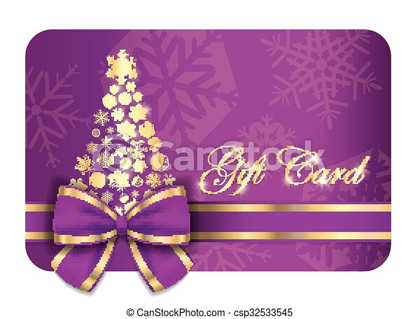 Luxury christmas gift card with purple ribbon and gold eps vector luxury christmas gift card with purple ribbon and gold snowflakes csp32533545 negle Images