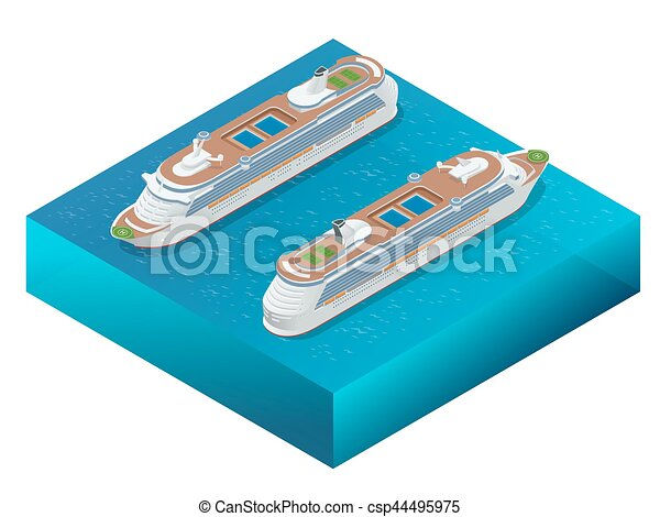 Luxury cruise ship. A modern liner is in an ocean. Flat 3d vector isometric illustration - csp44495975