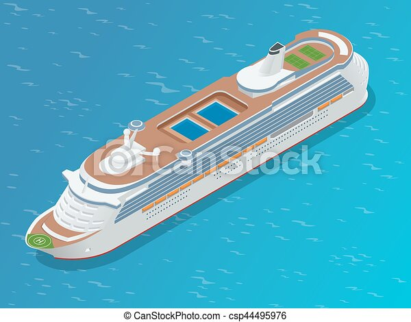 Luxury cruise ship. A modern liner is in an ocean. Flat 3d vector isometric illustration - csp44495976
