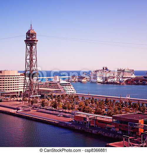Luxury Cruise Ships in Barcelona - csp8366881