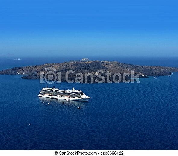 Luxury Cruiser In Santorini Caldera