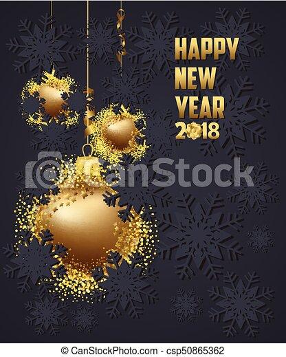 Merry Christmas Poster 2018.Luxury Elegant Merry Christmas And Happy New Year 2018 Poster Gold Christmas Balls