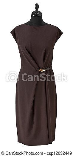 luxury female dress on clothier s rack isolated on white background - csp12032449