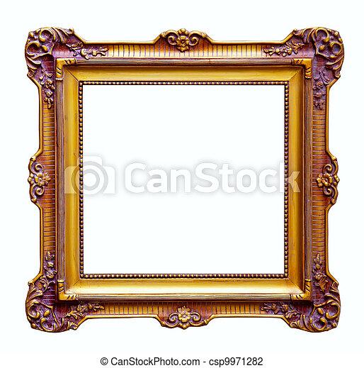 Luxury gilded frame. isolated over white . Luxury gilded frame ...