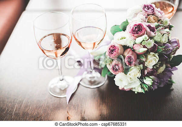 Luxury glasses with champagne on the table - csp67685331