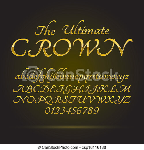 Luxury Golden Font and Numbers - csp18116138