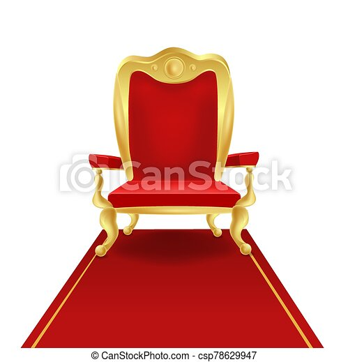 Luxury golden king throne chair with red royal carpet vector graphic illustration - csp78629947