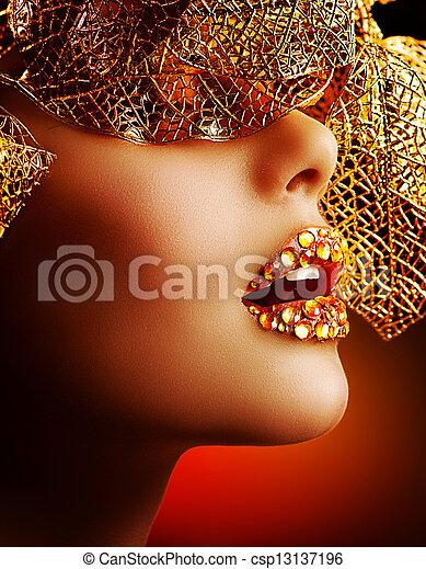 Luxury Golden Makeup. Beautiful Professional Holiday Make-up  - csp13137196
