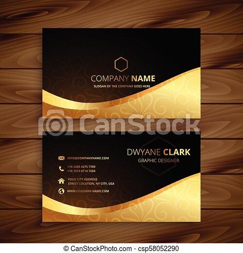 Luxury Golden Premium Business Card Design Canstock