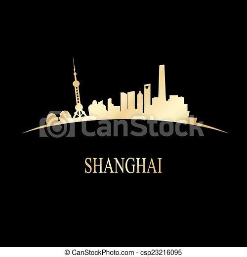 luxury golden shanghai skyline vector illustration