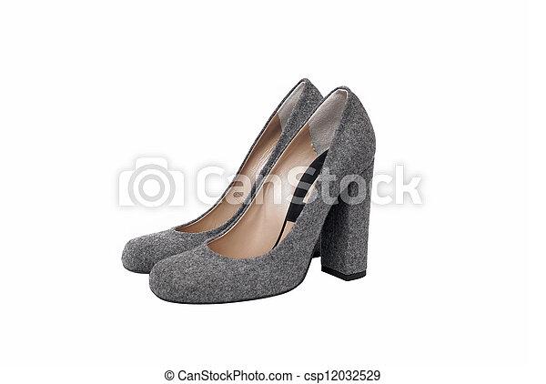 Luxury gray female leather heeled shoes isolated on white background - csp12032529