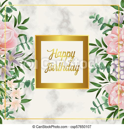 Luxury Happy Birthday Card With Pink Flowers On Black Marble Luxury