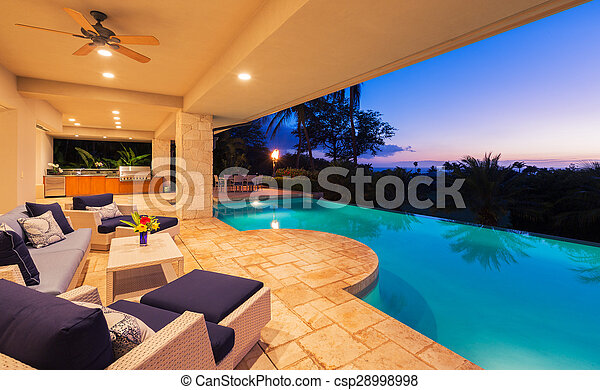 Luxury Home with Pool at Sunset - csp28998998