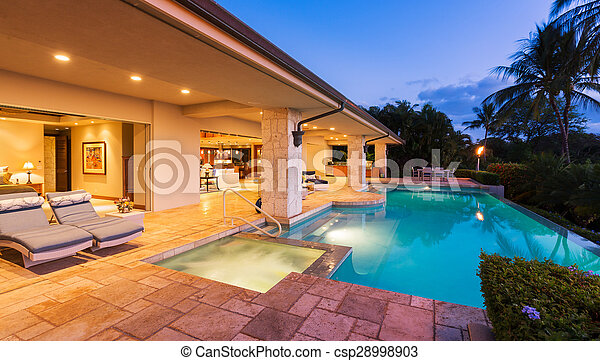 Luxury Home with Pool at Sunset - csp28998903