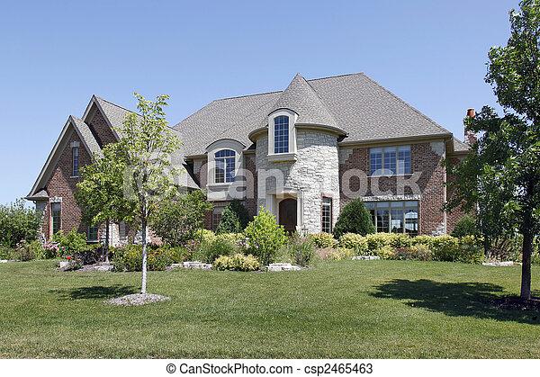 Luxury Home With Stone Turret   Csp2465463