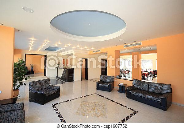 Elegant Luxury Hotel Lobby Reception Area   Csp1607752