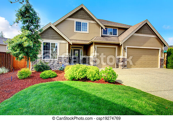 appealing living room stairs royalty free stock image 27532276 | Luxury house ith beautiful curb appeal. Clapboard siding ...