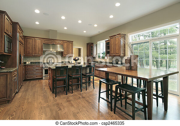 Luxury kitchen with wood cabinets - csp2465335