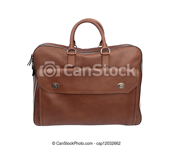luxury leather handbag or briefcase isolated on white background - csp12032662