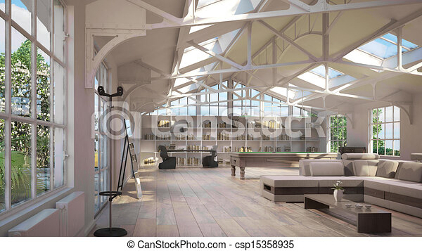 Luxury loft interiors - csp15358935
