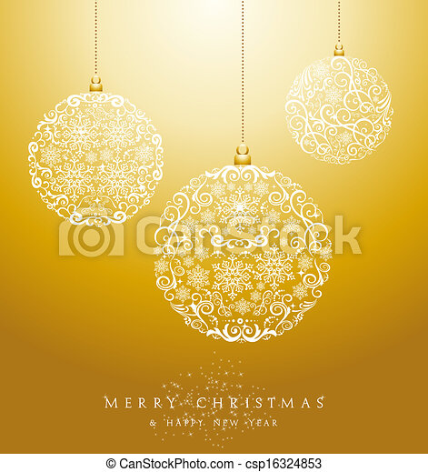 Luxury Merry Christmas baubles background EPS10 vector file. - csp16324853