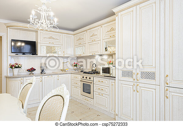 Luxury Modern Beige And Cream Colored Kitchen Interior Luxury Modern Beige And Cream Colored Kitchen In Modern Classic Style Canstock