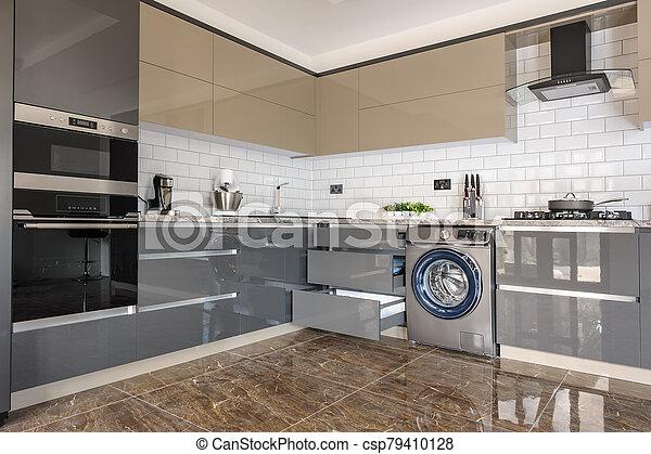 Luxury Modern White Beige And Grey Kitchen Interior Spacious Luxury Well Designed Modern Grey Beige And White Kitchen With Canstock