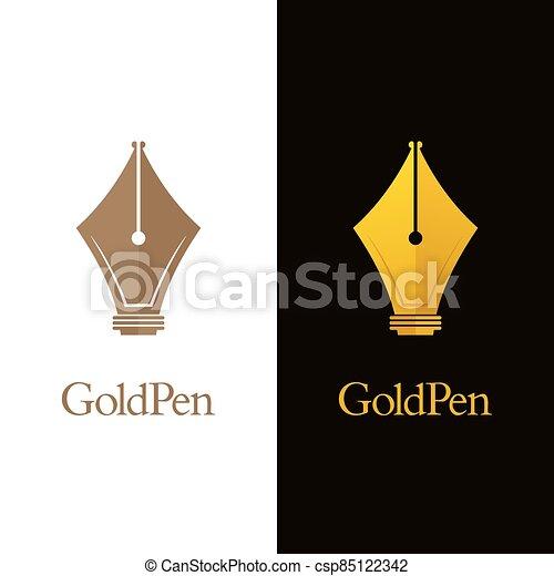 Luxury Pen Nib Logos - csp85122342