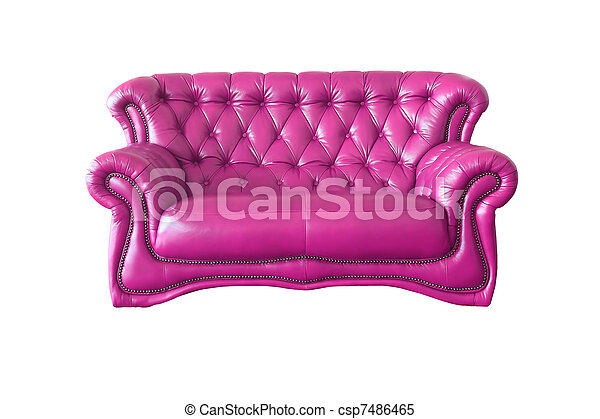luxury pink leather armchair isolated on white background - csp7486465
