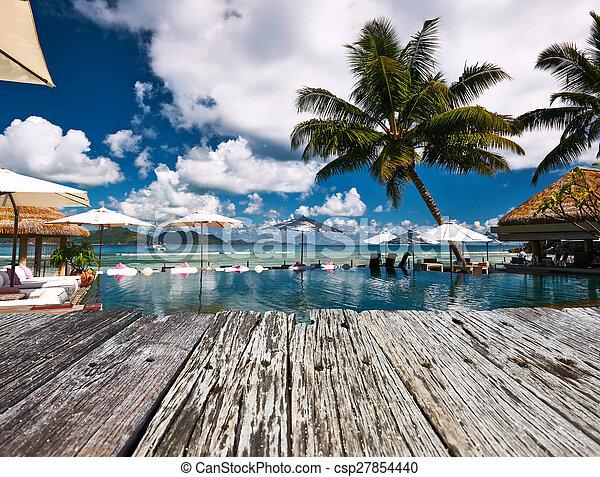 Luxury poolside jetty - csp27854440