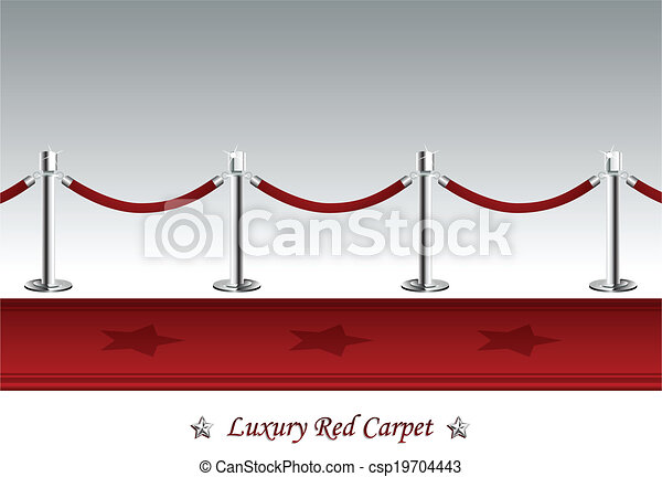 Luxury Red Carpet with Barrier Rope - csp19704443