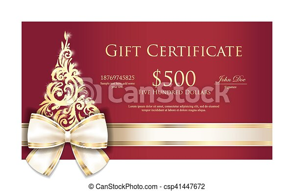 Christmas Certificate.Luxury Red Christmas Gift Certificate With Cream Ribbon And Gold Ornmament Christmas Tree