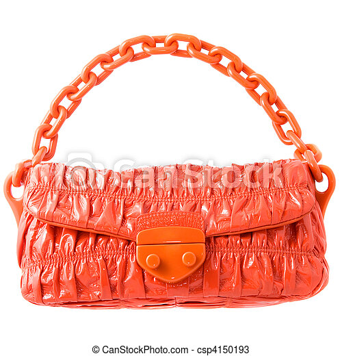 luxury red leather female bag isolated on white - csp4150193