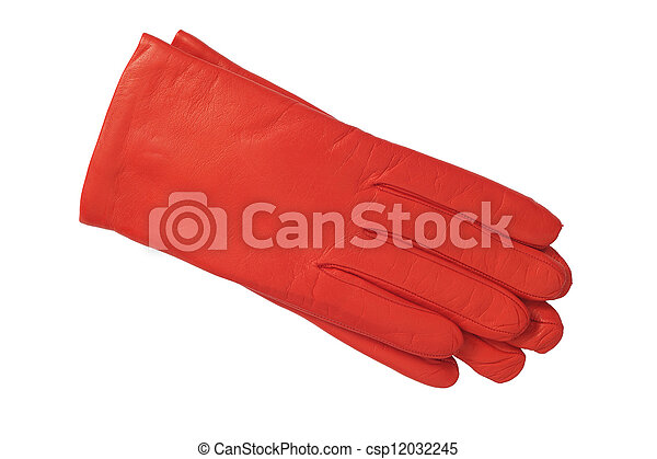 luxury red leather gloves isolated on white background - csp12032245