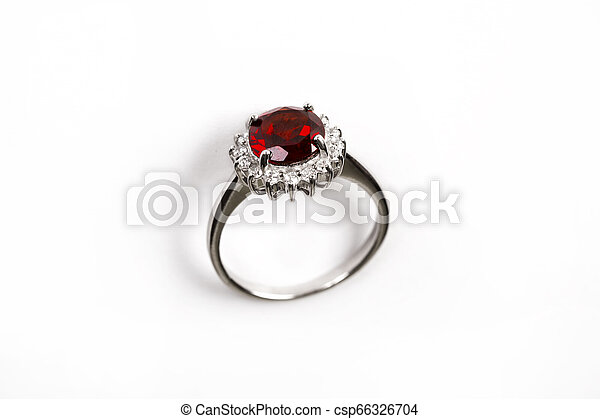Luxury Ring With Ruby Isolated On White Background Diamond Ring
