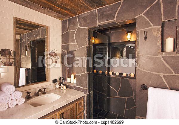 Luxury Spa Bathroom Luxurious Rustic With Mining Lamps In